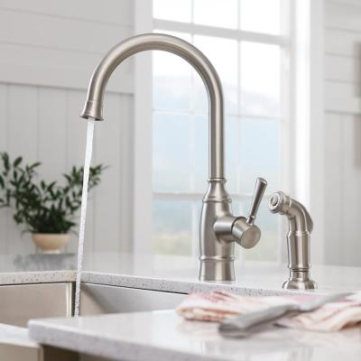 Noell Single-Handle Standard Kitchen Faucet with Side Sprayer in Spot Resist Stainless