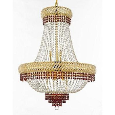 Empire Moroccan Style 12-Light Gold Crystal Chandelier with Red Crystals
