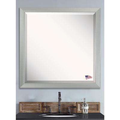 30.5 in. x 30.5 in. Juliet Soft Silver Square Beveled Vanity Wall Mirror