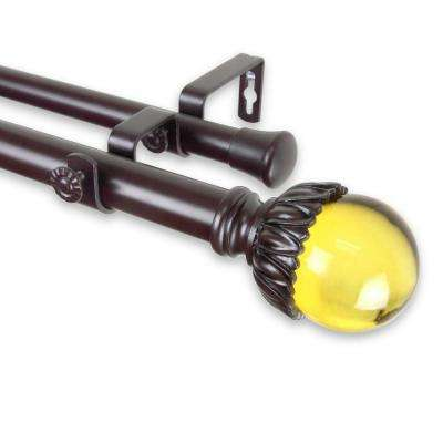 48 in. - 84 in. Telescoping 1 in. Double Curtain Rod Kit in Mahogany with Pixie Finial