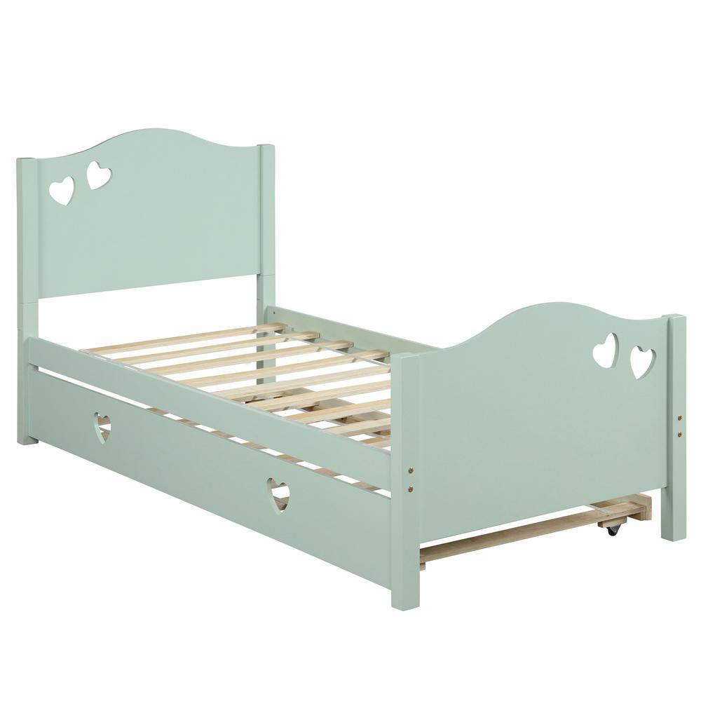 Kid platform bed Green with trundle loving shape
