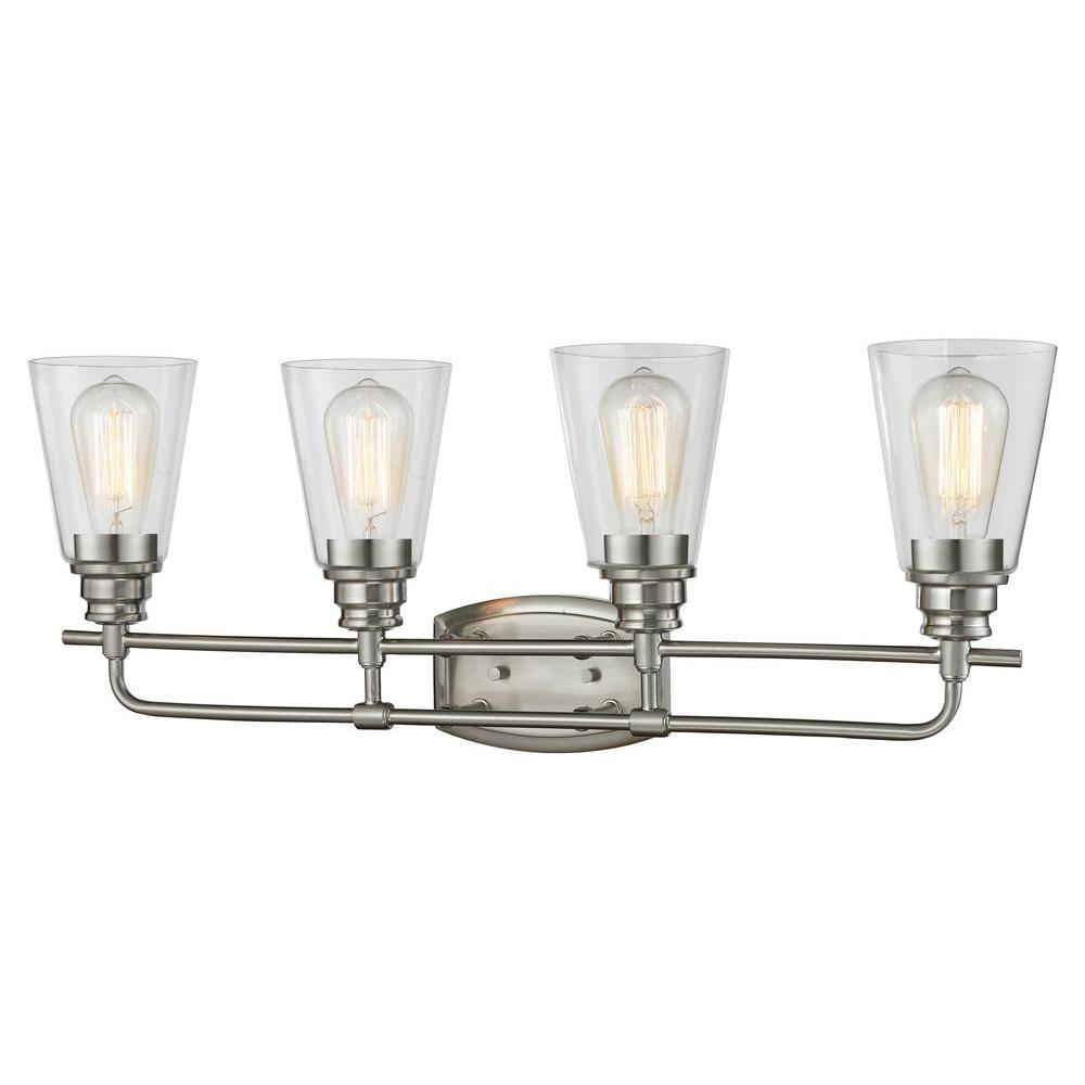 Filament Design Nina 4 Light Brushed Nickel Steel Contemporary Bath With Clear Gl Shades 60w Vintage Bulbs Included