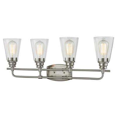 Nina 4-Light Brushed Nickel Steel Contemporary Bath Light with Clear Glass Shades, 60W Vintage Bulbs Included