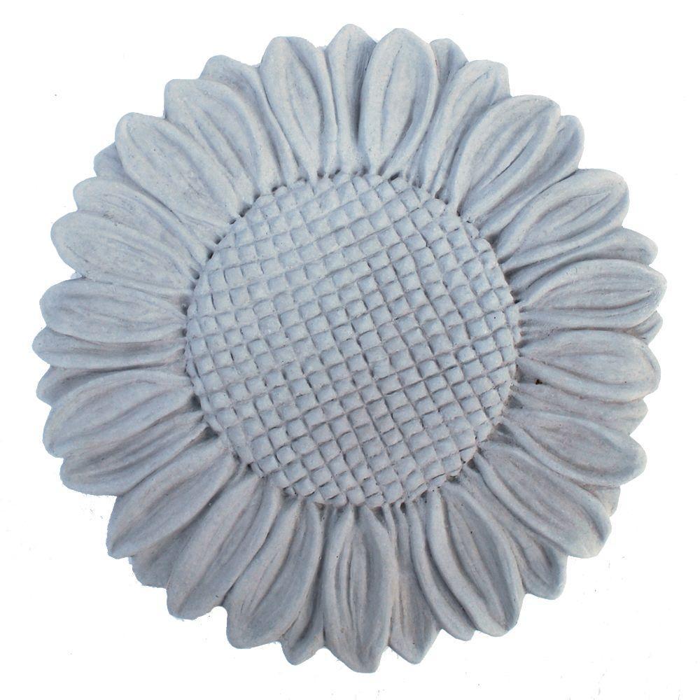 Cast Stone Sunflower Stepstone Antique Gray