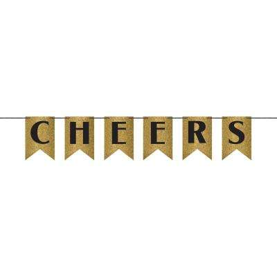6.375 in. Cheers Glitter Pennant Banner in Gold (2-Pack)
