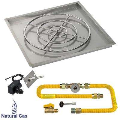 36 in. High-Capacity Square Stainless Steel Drop-In Pan with Spark Ignition Kit (30 in. Fire Pit Ring) Natural Gas