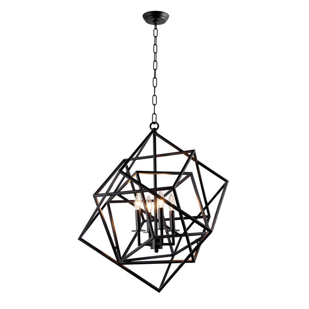 Y Decor Candle-Style 4-Light Matte Black Chandelier-LZ1183-4B - The ...