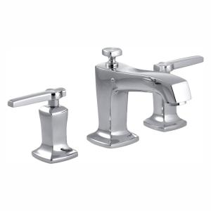 Margaux 8 in. Widespread 2-Handle Low-Arc Water-Saving Bathroom Faucet with Lever Handles in Polished Chrome
