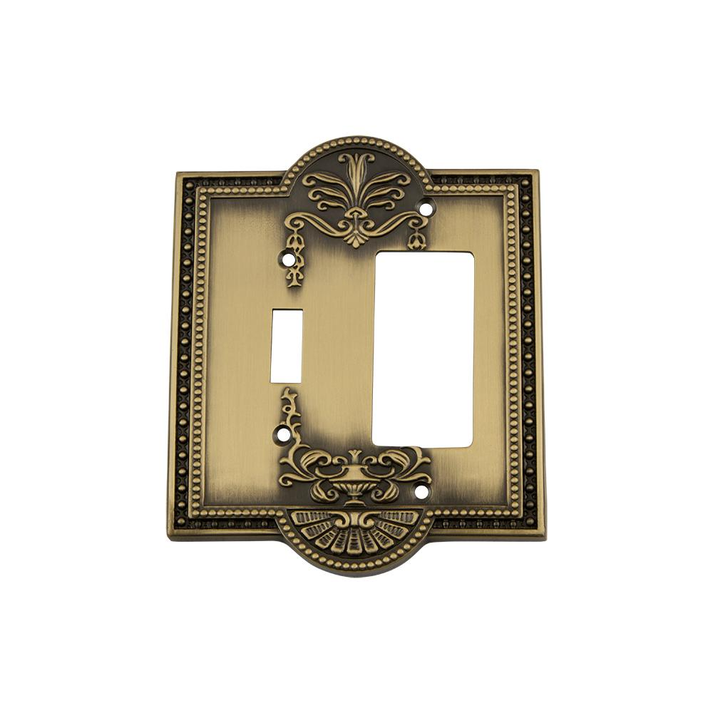 Meadows Switch Plate with Toggle and Rocker in Antique Brass