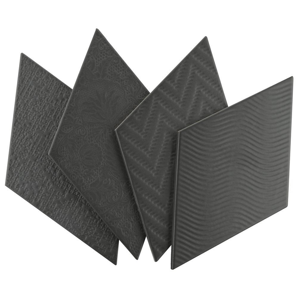 Merola Tile Merola Tile Rhombus Black 5-1/2 in. x 9-1/2 in. Porcelain Floor and Wall Tile (11.68 sq. ft. / case), Black / Medium Sheen