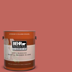 BEHR Premium Plus Ultra 1 gal. #HDC-CL-10 Tapestry Red Hi-Gloss Enamel Interior Paint by