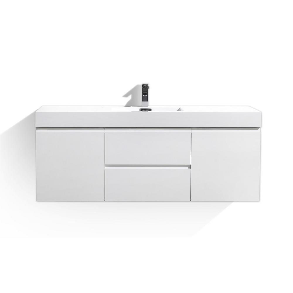 Wu 60 in. W Vanity in High Gloss White with Reinforced Acrylic ...