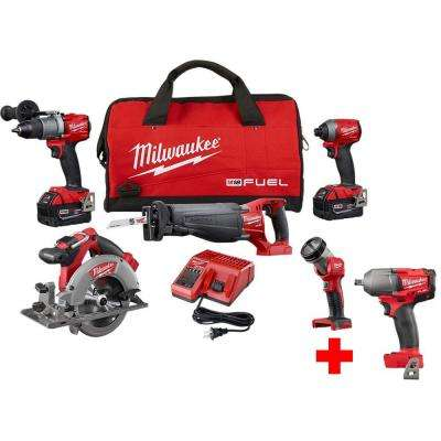 M18 FUEL 18-Volt Lithium-Ion Brushless Cordless Combo Kit (5-Tool) with Free M18 FUEL Mid Torque 1/2 in. Impact Wrench
