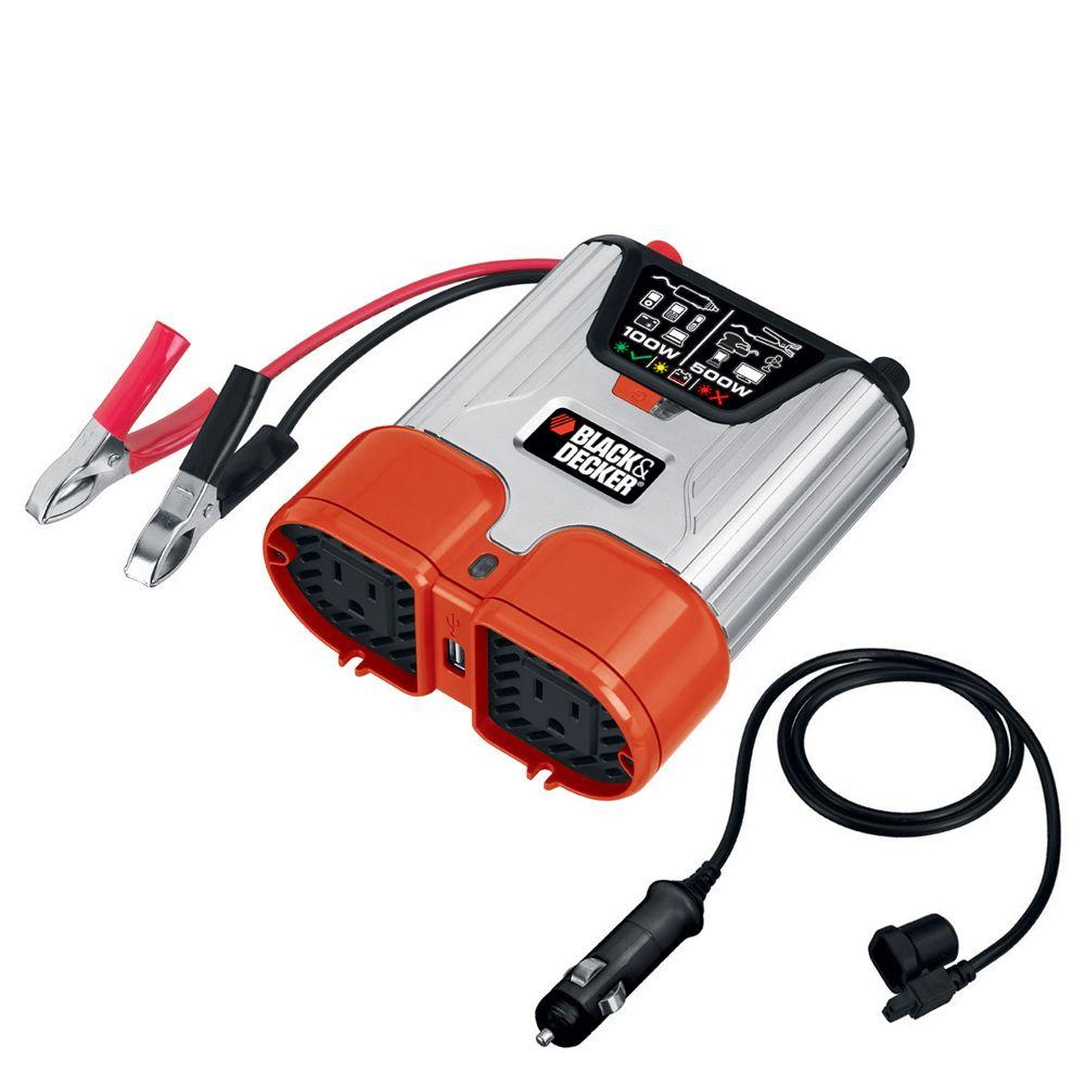 BLACK+DECKER 500-Watt Dual Outlet Power Inverter