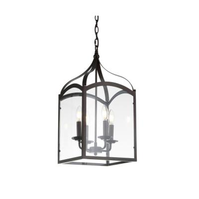 Ruth 11 in. 4-Light Oil Rubbed Bronze Lantern Metal/Glass LED Pendant