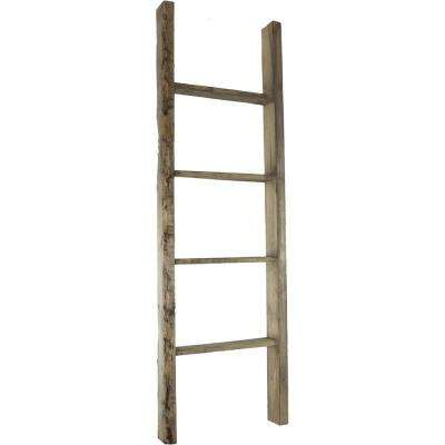 19 in. x 36 in. x 3 1/2 in. Barnwood Decor Collection Natural Barnwood Vintage Farmhouse 2-Rung Ladder