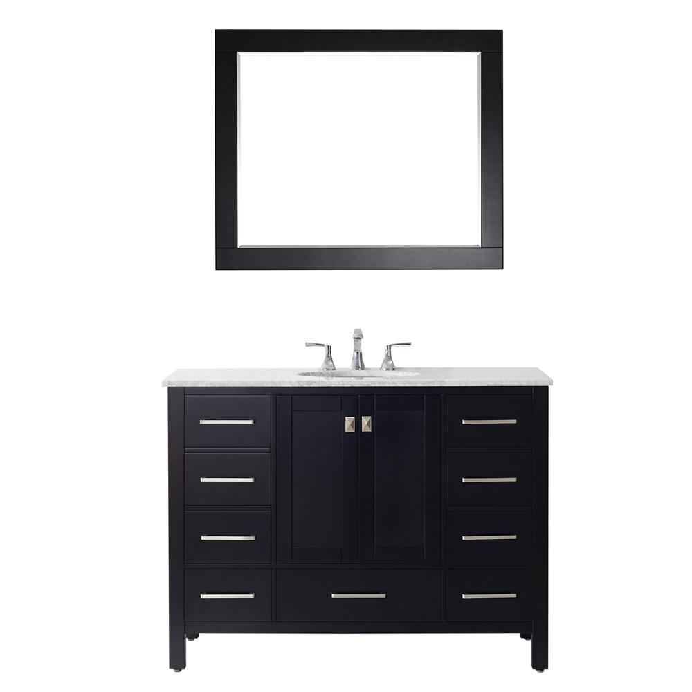 ROSWELL Gela 48 in. W x 22 in. D Bath Vanity in Black with Marble Vanity Top in White with White Basin, Faucet and Mirror