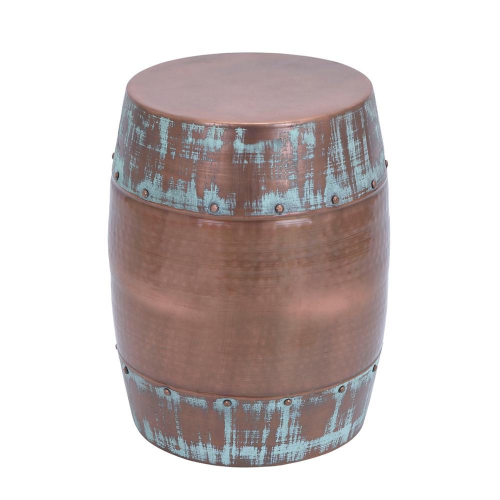 Metallic Bronze Drum Accent Table with Verdigris Accents