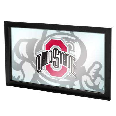 Ohio State Faded Brutus 15 in. x 26 in. Black Wood Framed Logo Mirror
