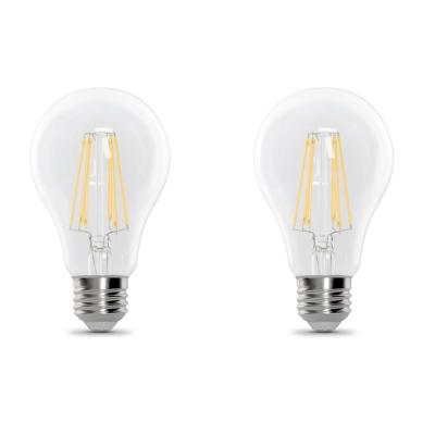 60-Watt Equivalent A19 Dimmable Filament CEC Title 20 Compliant LED 90+ CRI Clear Glass Light Bulb, Soft White (2-Pack)
