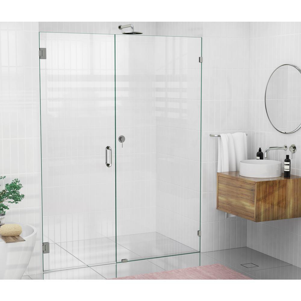 58 in. x 78 in. Frameless Wall Hinged Shower Door in Brushed Nickel