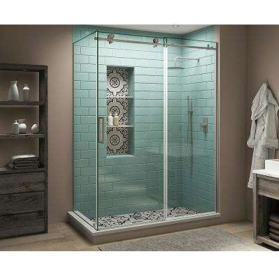 56 in. - 60 in. x 30 in. x 80 in. Frameless Corner Sliding Shower Enclosure Clear Glass in Stainless Steel Left