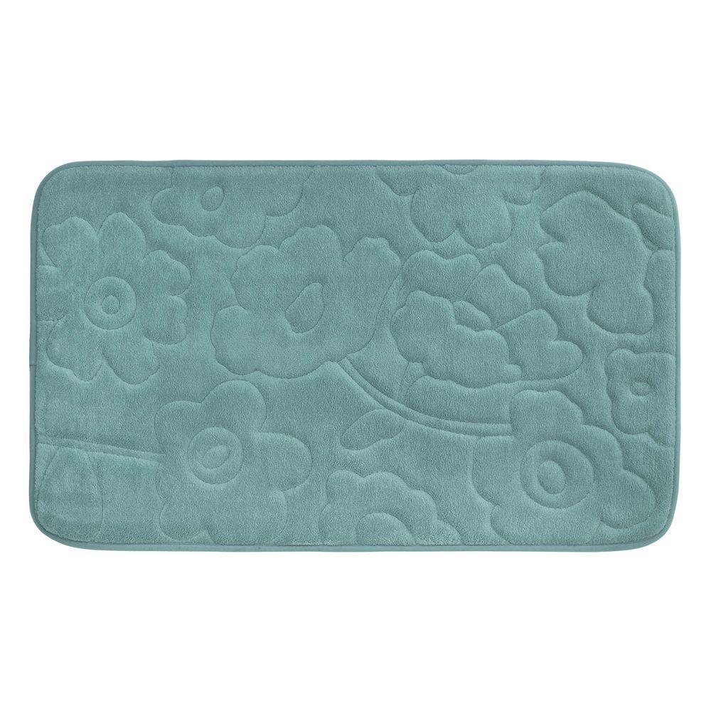 Stencil Floral Marine Blue 20 in. x 34 in. Memory Foam Bath Mat