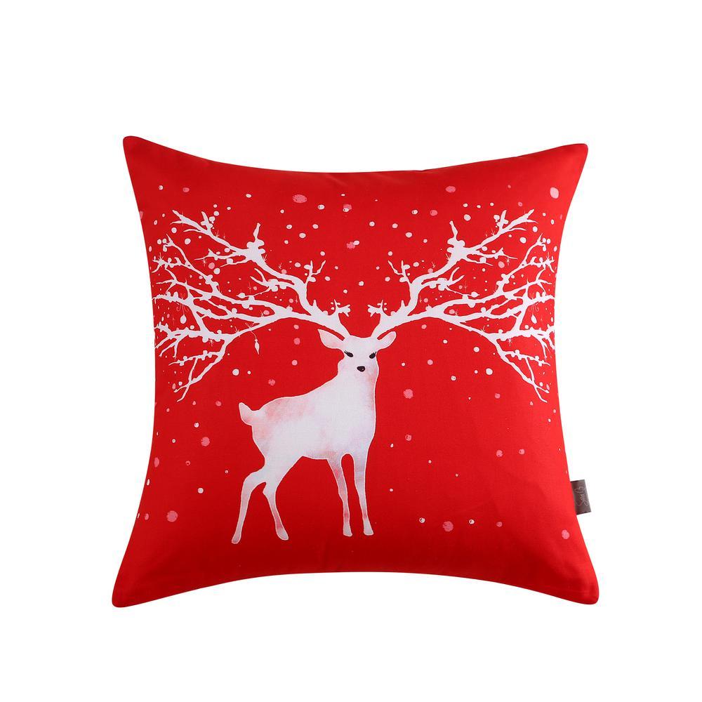 Christmas Deer Reversible 20 in. x 20 in. Decorative Pillow