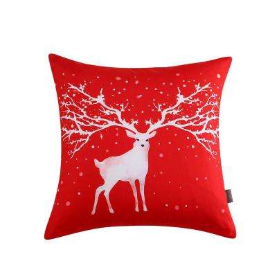 Christmas Deer Reversible 20 in. x 20 in. Decorative Pillow