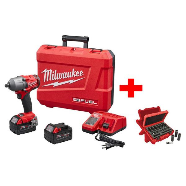 M18 FUEL 18-Volt Lithium-Ion Brushless 1/2 in. Mid Torque Impact Wrench With Pin Detent Kit with Socket Set (9-Piece)