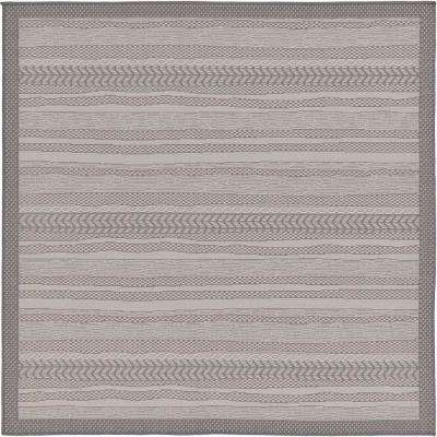 Outdoor Lines Gray 6' 0 x 6' 0 Square Rug