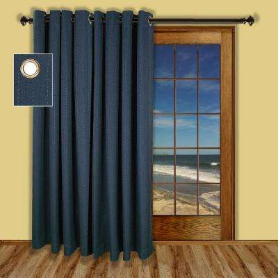 Blackout Grand Pointe Grommet Patio Panel Woven with Blackout Yarns in Deep Blue
