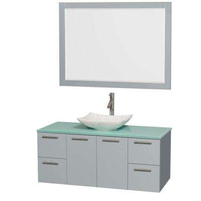 Amare 48 in. W x 21.75 in. D Vanity in Dove Gray with Glass Vanity Top in Green with White Basin and 46 in. Mirror