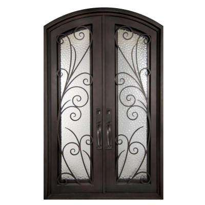 74 in. x 97.5 in. Flusso Classic Full Lite Painted Oil Rubbed Bronze Wrought Iron Prehung Front Door