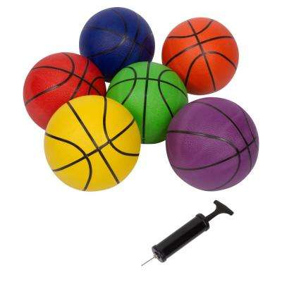 Size 7 Regulation Size Basketballs 29.5 in. (Set of 6 Multicolor With Pump)