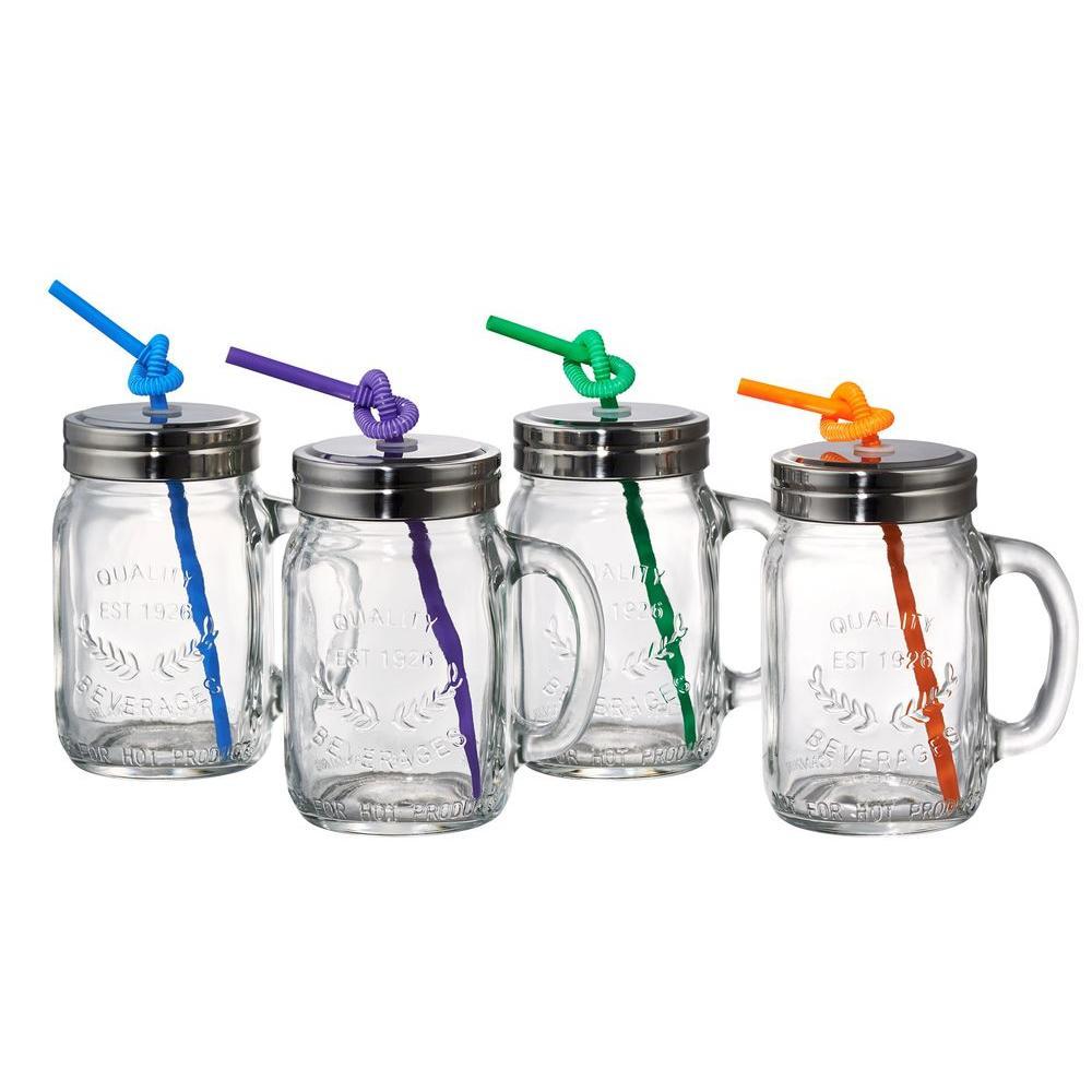 10406 15 oz. Mason Jars with Straw (4-Pack)
