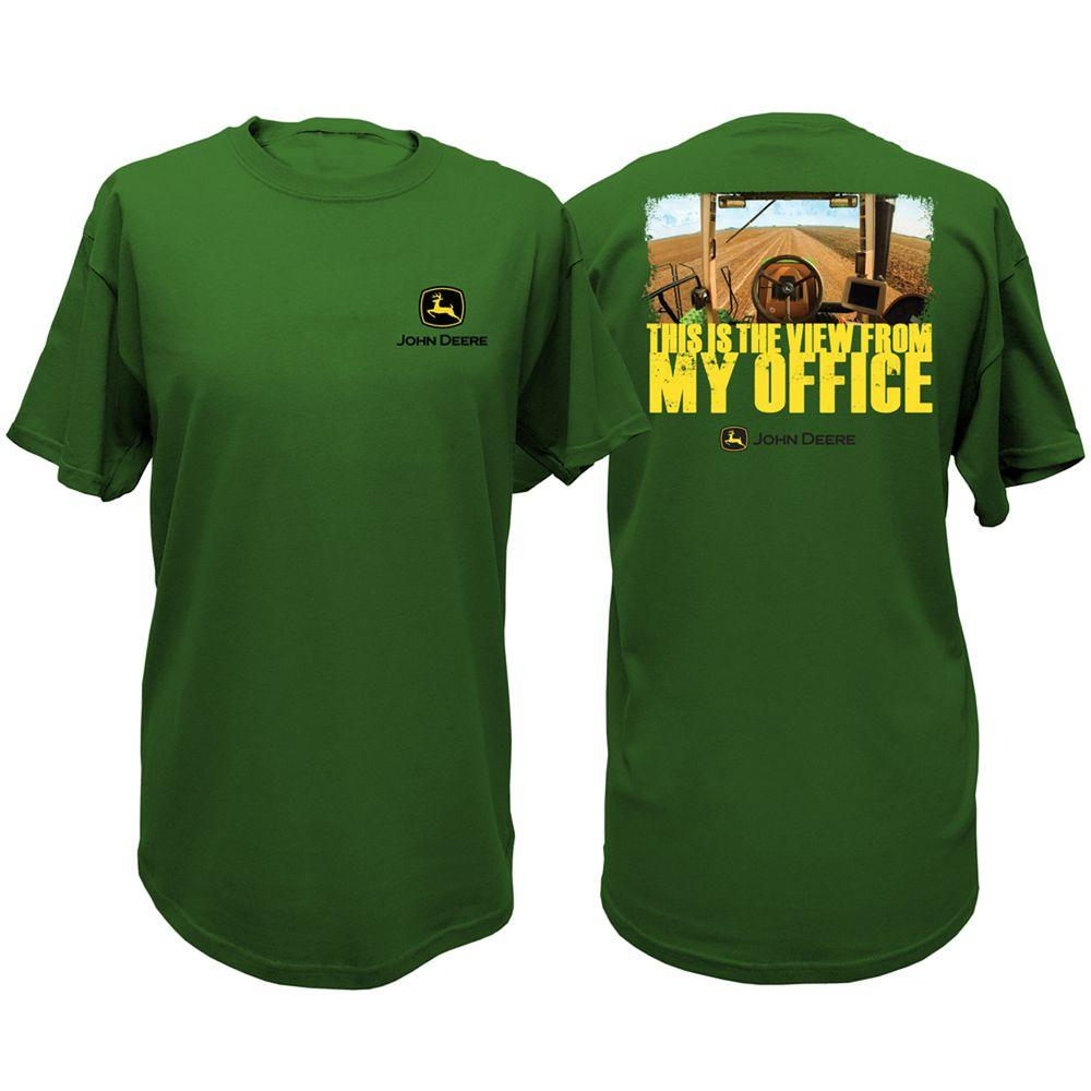 John Deere This Is The View From My Office 6XL Adult Men's Crew Neck Tee Shirt in Green