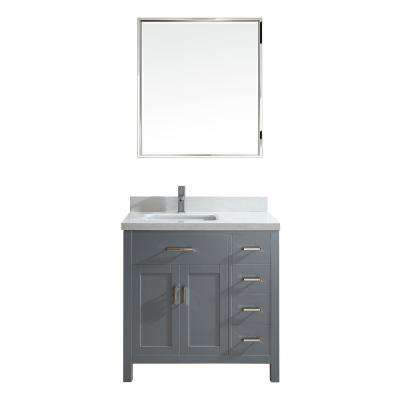Kalize II 36 in. W x 22 in. D Vanity in Oxford Gray with Engineered Vanity Top in White with White Basin and Mirror