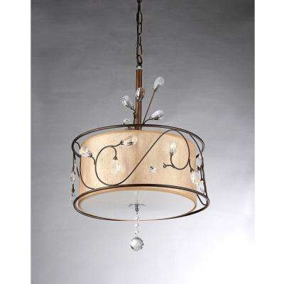 Amelia 3-Light Antique Bronze Chandelier with Shade
