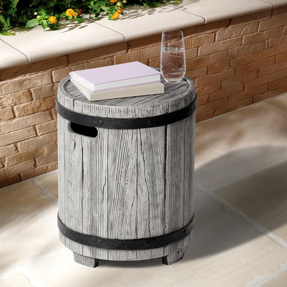 Ove Decors Barrel Round Fiberglass Outdoor Side Table