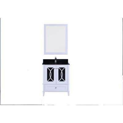 30 in. W x 22 in. D Vanity in White with Tempered Glass Vanity Top and Mirror