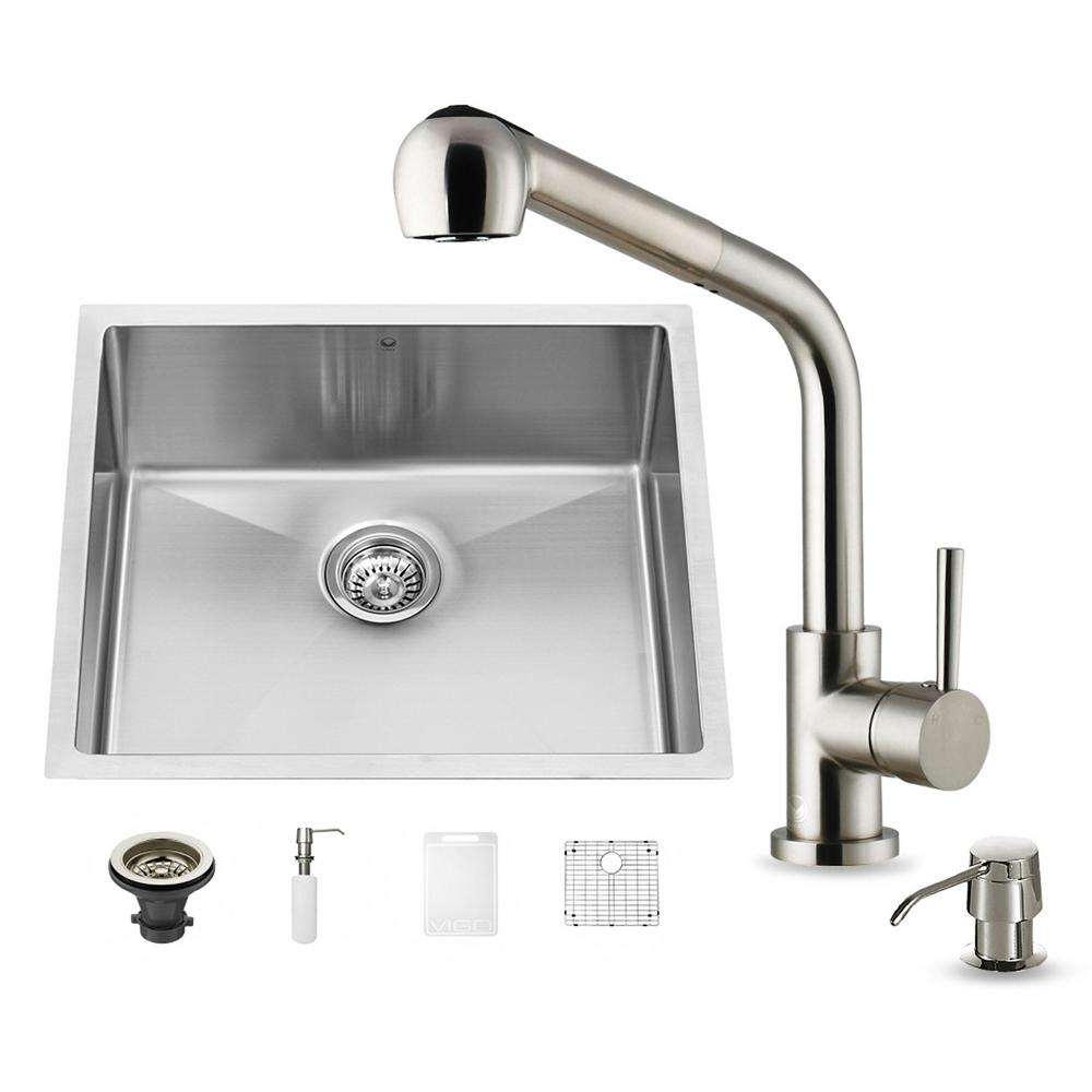 VIGO All-in-One Undermount Stainless Steel 23 in. Single Bowl ...