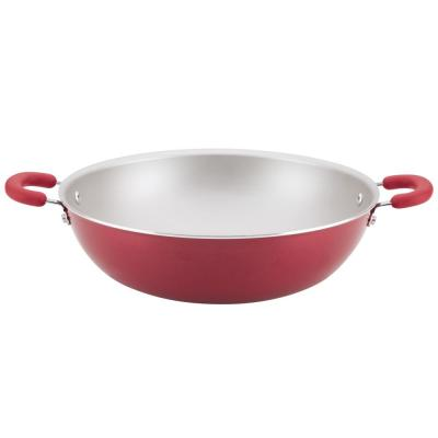 Create Delicious Aluminum Nonstick Wok, 14.25-Inch, Red Shimmer