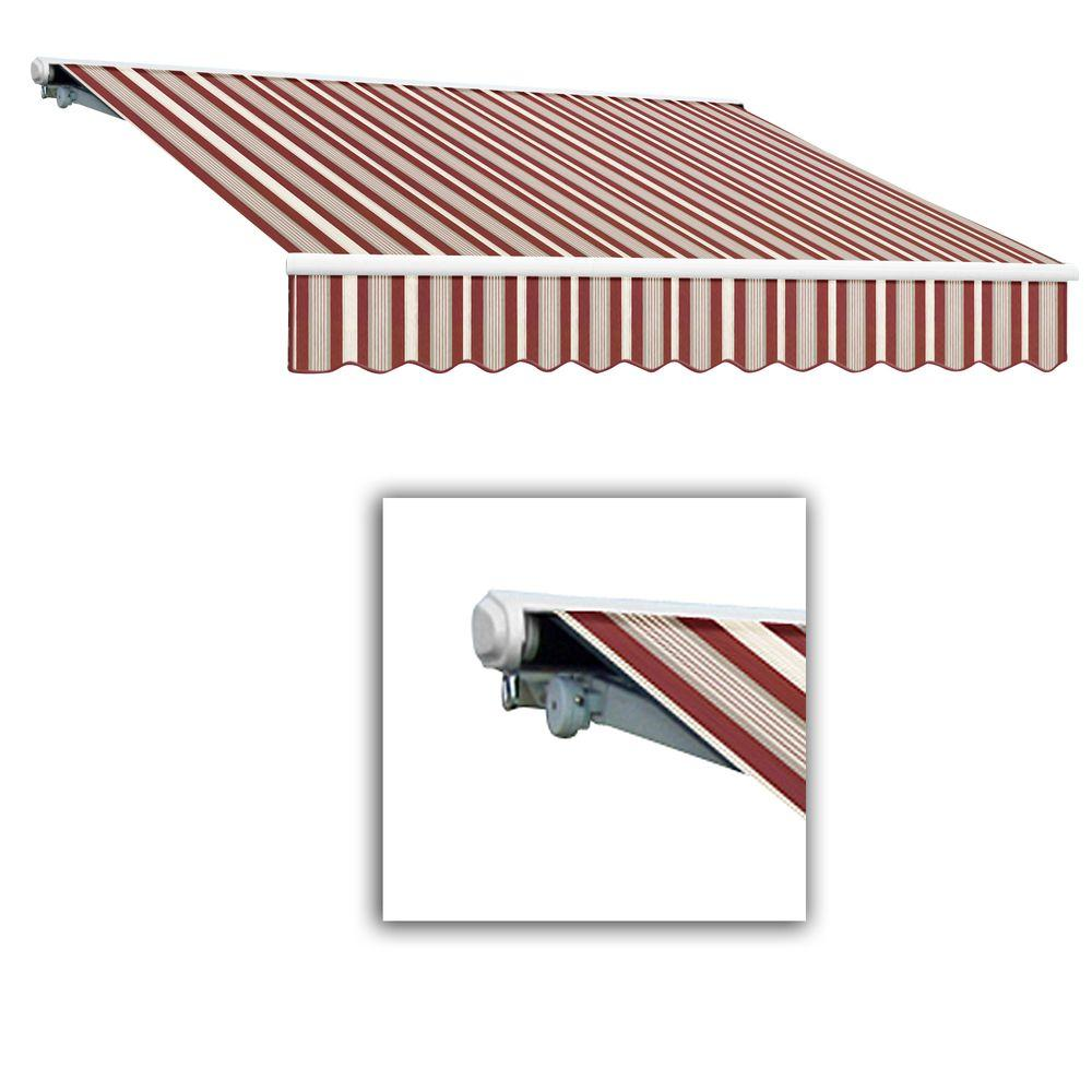 AWNTECH 10 ft. Galveston Semi-Cassette Left Motor with Remote Retractable Awning (96 in. Projection) in Burgundy/Gray/White