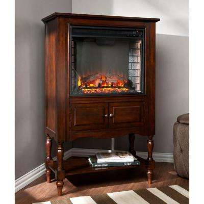 Horatio 32.25 in. Convertible Tower Electric Fireplace in New Mahogany