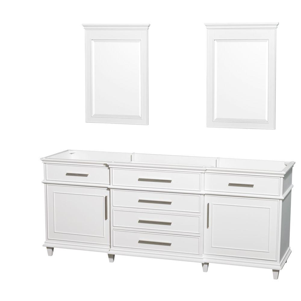 Wyndham collection berkeley 80 in vanity cabinet with mirror in white wcv171780dwhcxsxxm24 for 80 bathroom vanities without tops