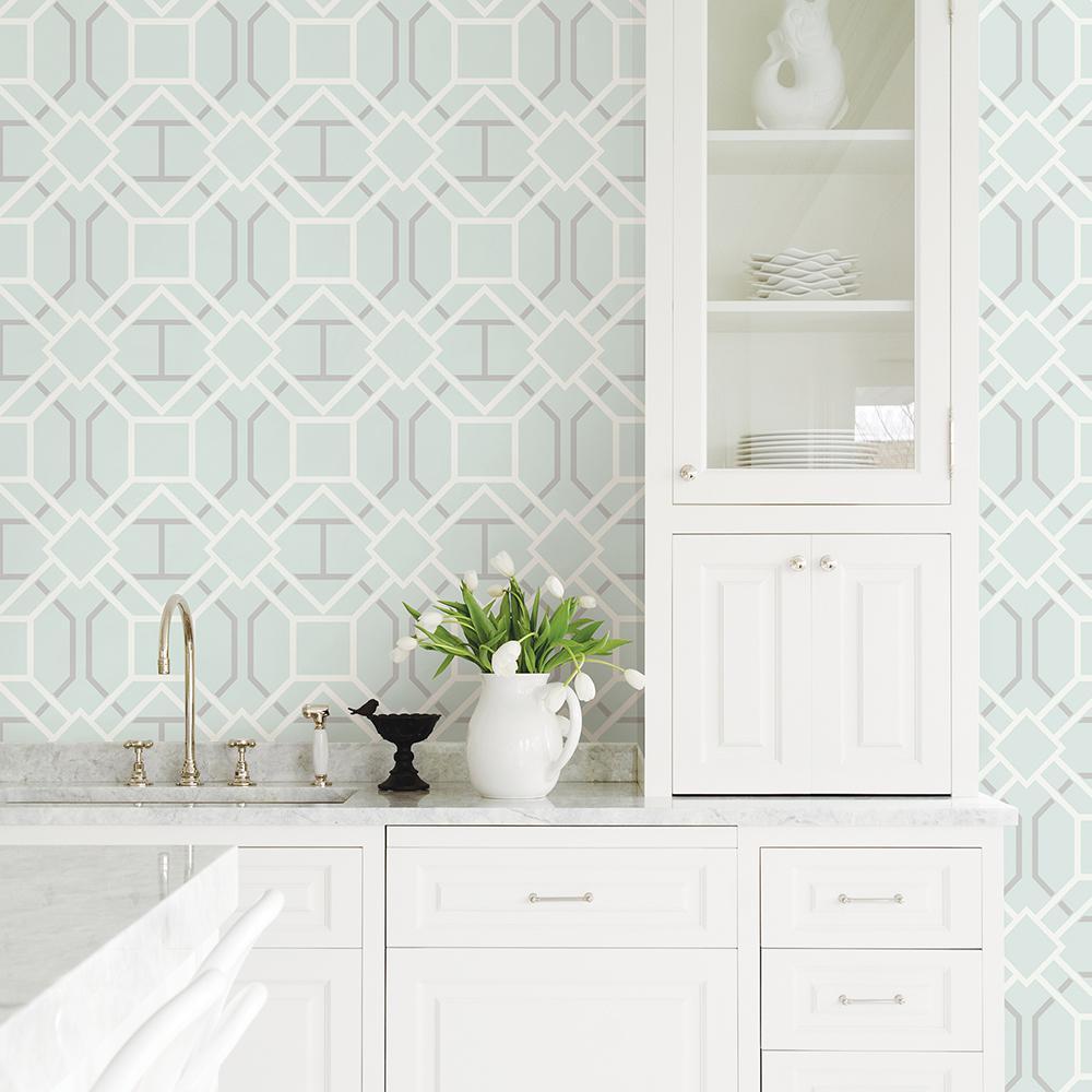 56.4 sq. ft. Dauphin Light Blue Lattice Wallpaper