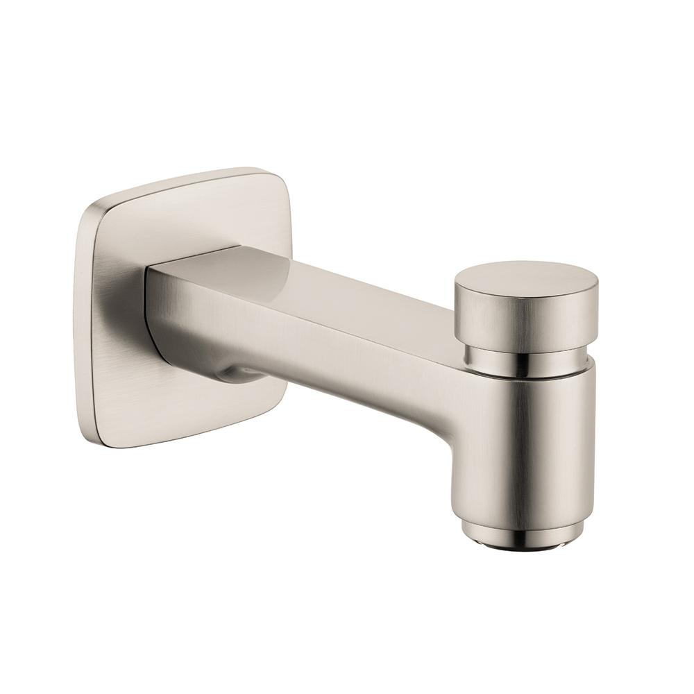 hansgrohe logis tub spout with diverter in brushed nickel 71412821 the home depot. Black Bedroom Furniture Sets. Home Design Ideas