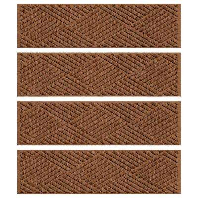 Dark Brown 8.5 in. x 30 in. Diamonds Stair Tread Cover (Set of 4)