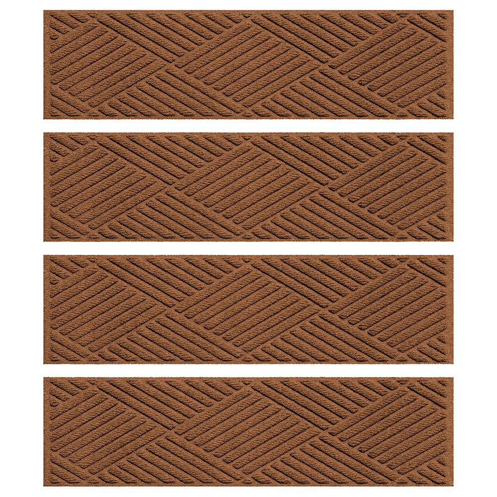 Aqua Shield Dark Brown 8.5 In. X 30 In. Diamonds Stair Tread Cover (